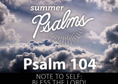 Psalm 104: Note to Self: Bless the Lord!